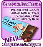 Personalized Candy Bar Wrappers in styles to match the party theme.